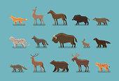 Animals icons. Wild boar, bear, fox, deer, horse, badger, leopard