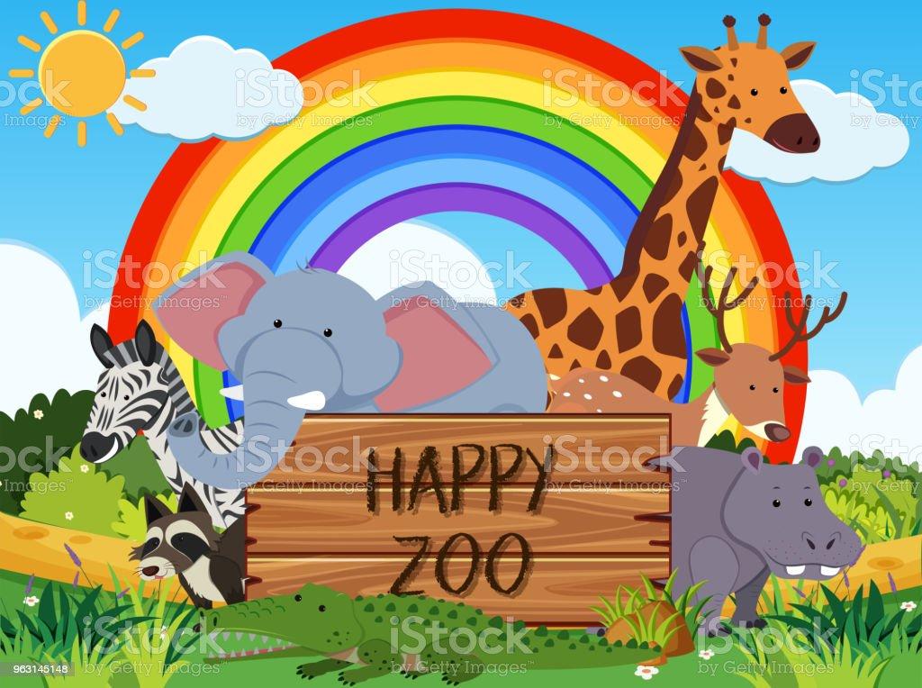 Djur i en glad Zoo Banner - Royaltyfri Australien vektorgrafik