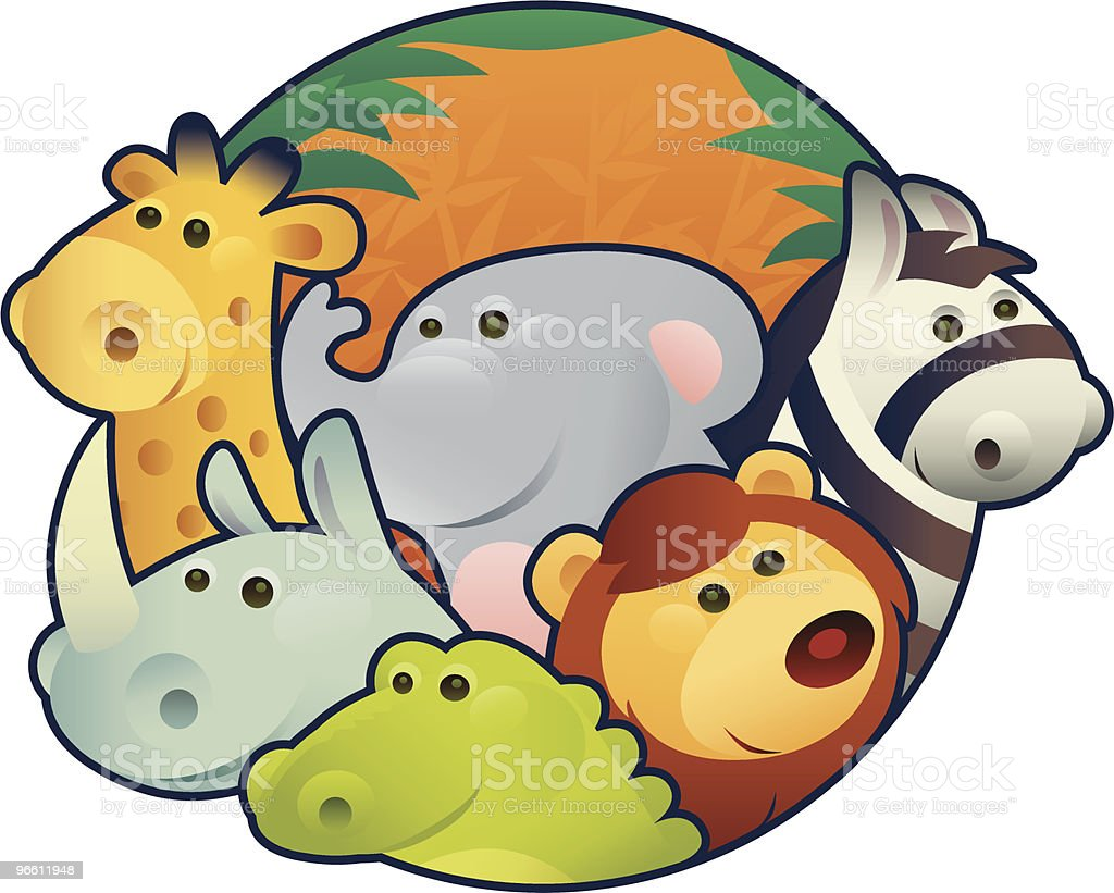 animals in circle - Royalty-free Cartoon vectorkunst