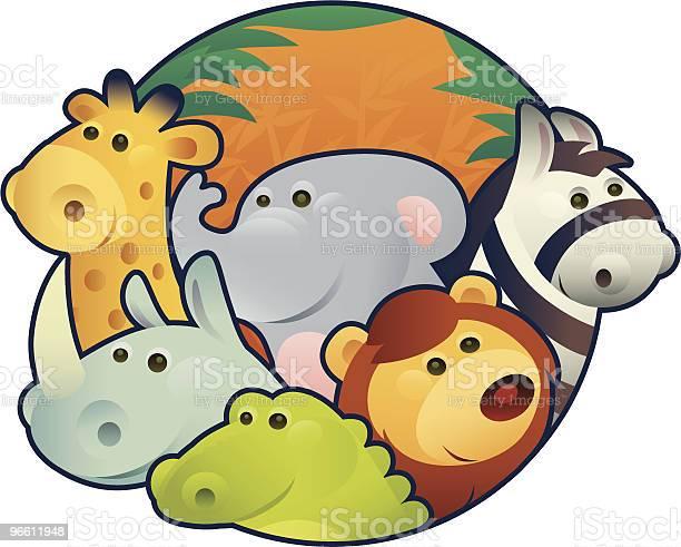 Animals In Circle-vektorgrafik och fler bilder på Designelement