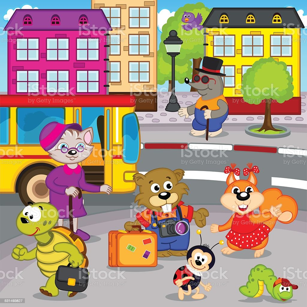animals in city come by bus vector art illustration