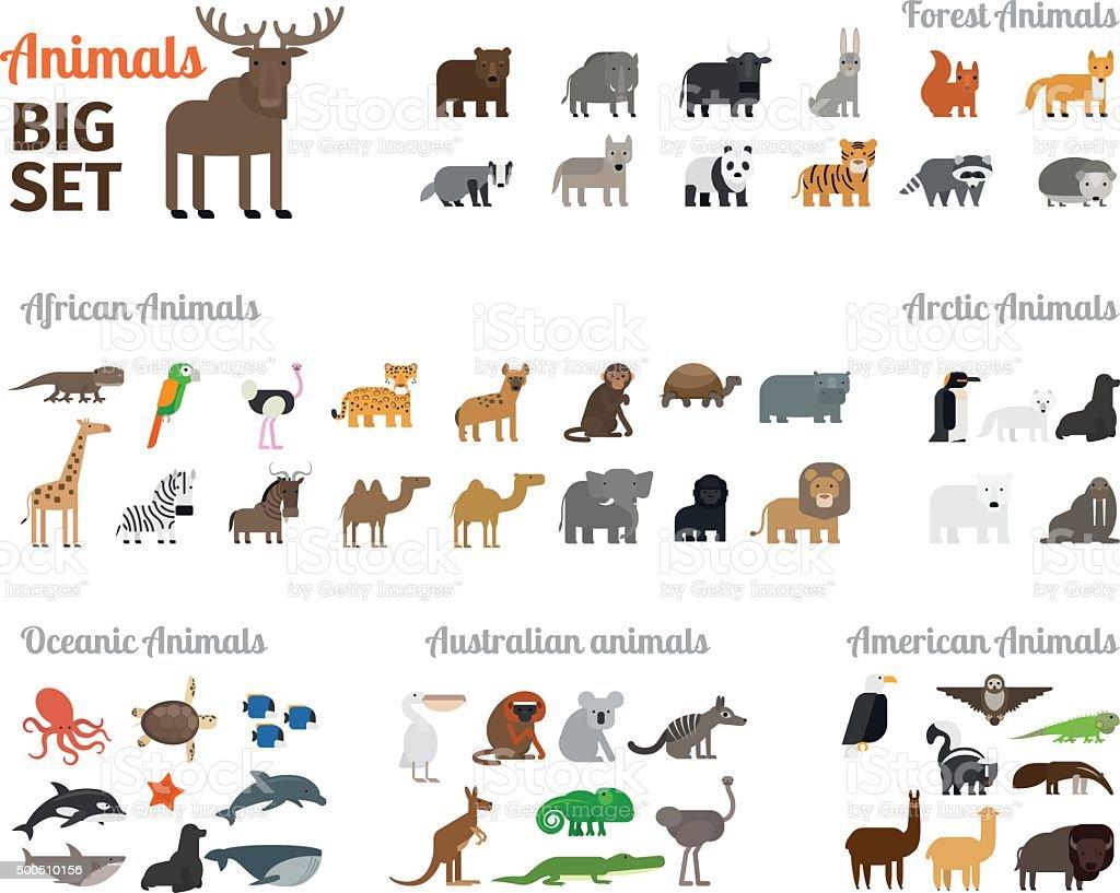 動物のフラットスタイル ベクターアートイラスト