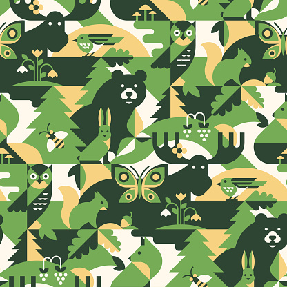 Animals in forest - abstract vector pattern, seamless with bear, fox, bee, bird, butterfly, elk, hare, owl, squirrel, leaves and flowers. Perfect for camouflage fabric, textile, wallpaper.