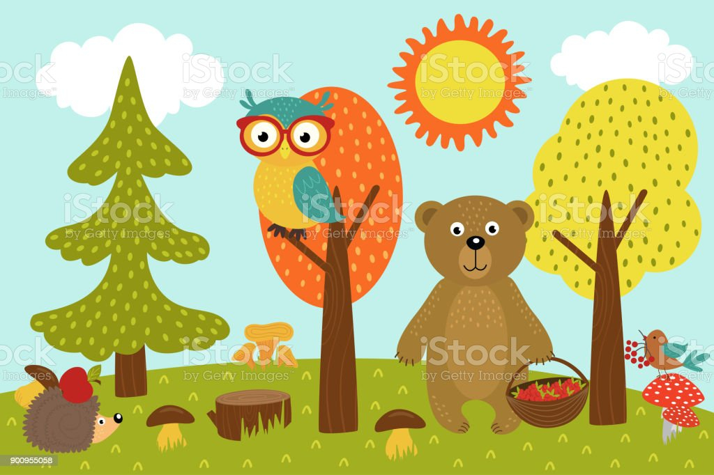 animals in forest picks mushrooms and berries vector art illustration