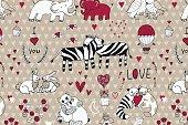 Animals in love valentine's day pattern