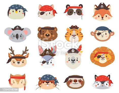Little animals in pirate hats as penguin and cat, lion and tiger, sloth, giraffe, raccoon and deer. Cute, funny characters isolated on white for children print, book vector illustration.