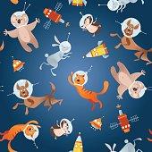Animals in space. Astronauts. Cosmonauts. Dog, cat, hare, hedgehog, koala. Seamless background pattern. Vector illustration