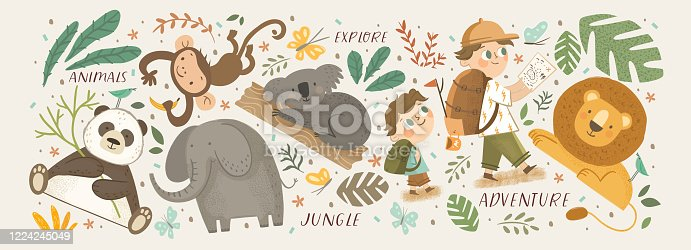 istock Animals in the jungle and explore. Vector cute illustrations of children's adventure, explorations, panda, koala, lion, elephant, giraffe, monkey and kids travelers. 1224245049
