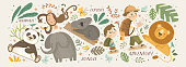 istock Animals in the jungle and explore. Vector cute illustrations of children's adventure, explorations, panda, koala, lion, elephant, giraffe, monkey and kids travelers. 1224245049