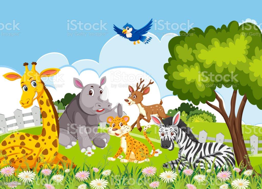Ormanda Hayvanlar Stok Vektor Sanati Animasyon Karakter Nin Daha