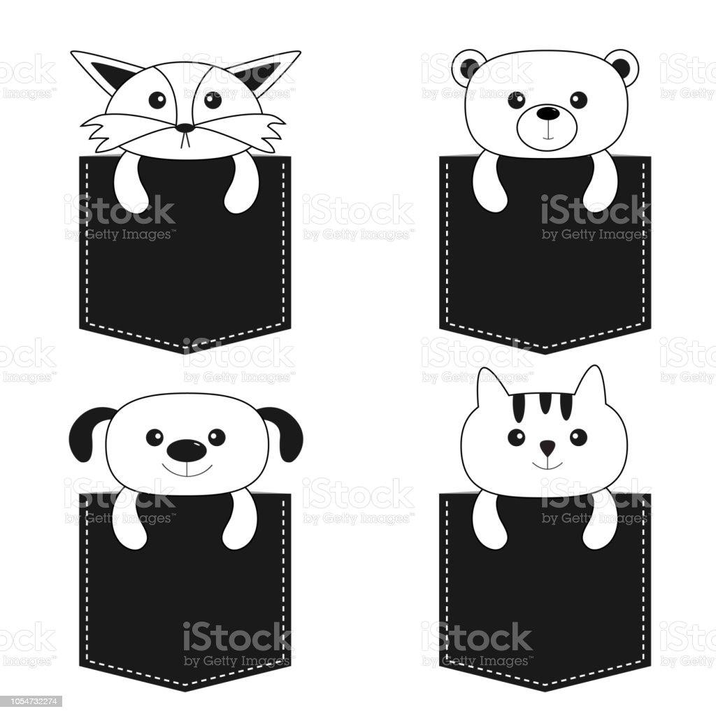 Tiere In Der Tasche Niedlichen Cartoon Hund Bar Fuchs Katze Kontur