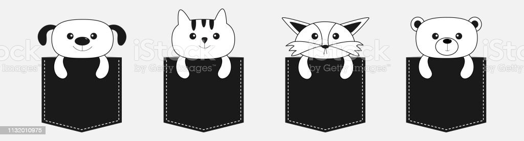 Animals in the pocket. Cute cartoon dog, bear, fox, kitten contour...