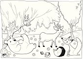Animals in the wood, black and white. Cartoon vector illustration