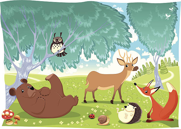 stockillustraties, clipart, cartoons en iconen met animals in the wood. - grassenfamilie
