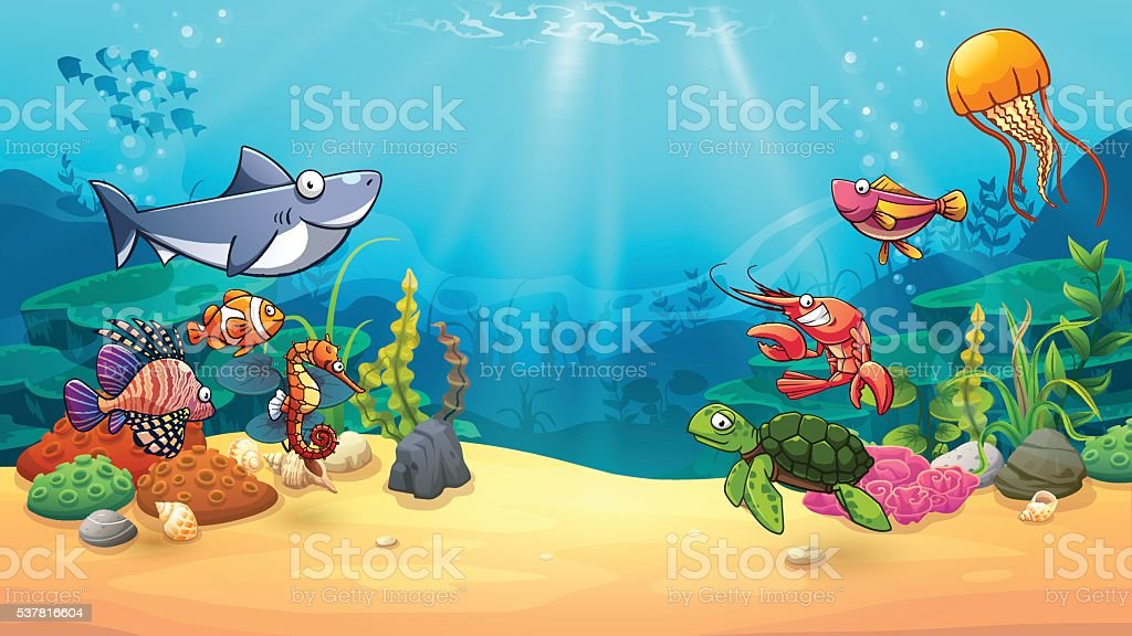 Animals in underwater world vector art illustration