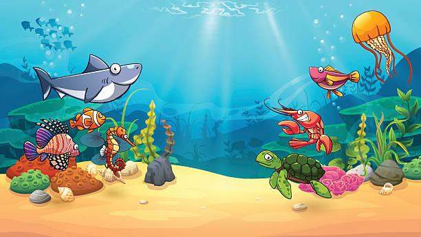 bildbanksillustrationer, clip art samt tecknat material och ikoner med animals in underwater world - i havet