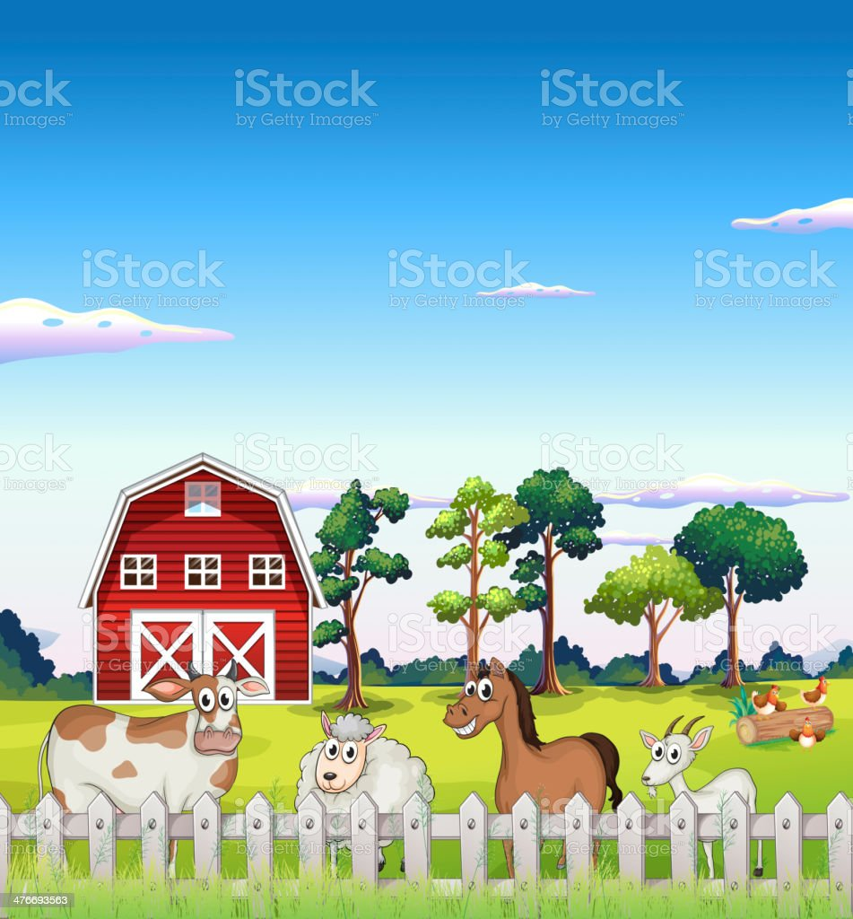 Animals inside  fence with a barnhouse at the back vector art illustration