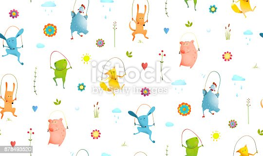 istock Animals Jumping Rope Seamless Pattern Background 878493520