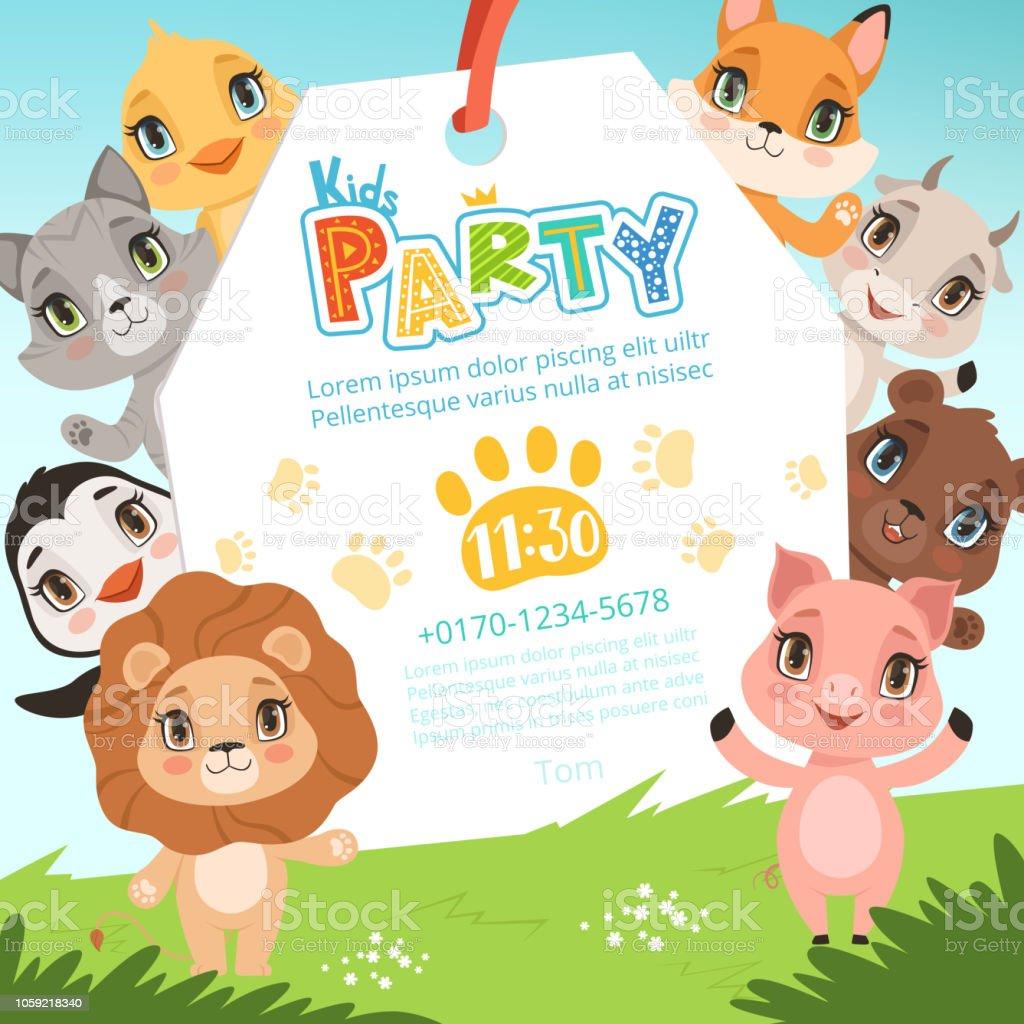 Tiere Kinder Einladungen Süße Lustige Dschungeltiere In