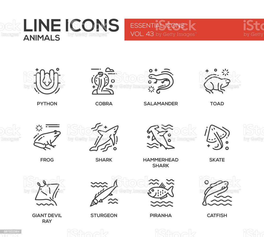 Animals - line design icons set vektorkonstillustration