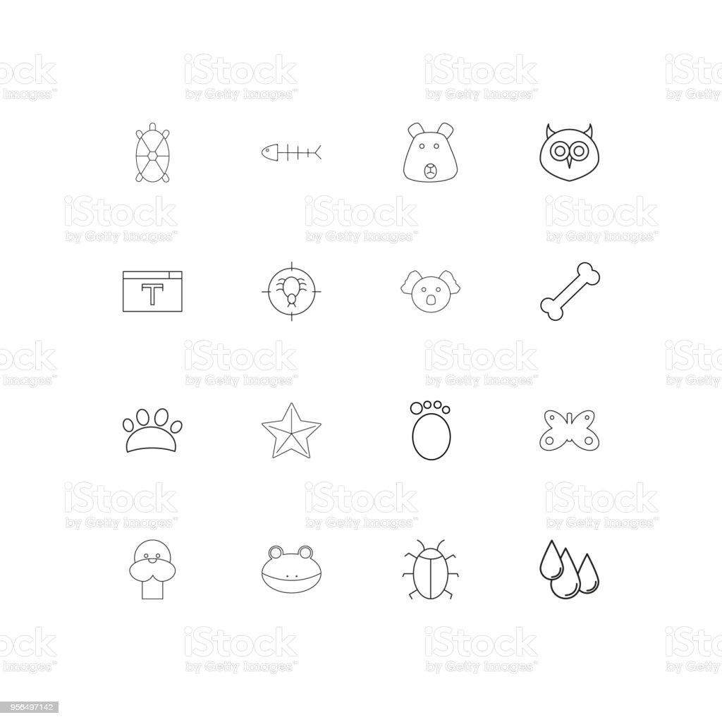 Tiere lineare dünne Symbole festgelegt. Beschriebenen einfachen Vektor-icons - Lizenzfrei Aserbaidschan Vektorgrafik