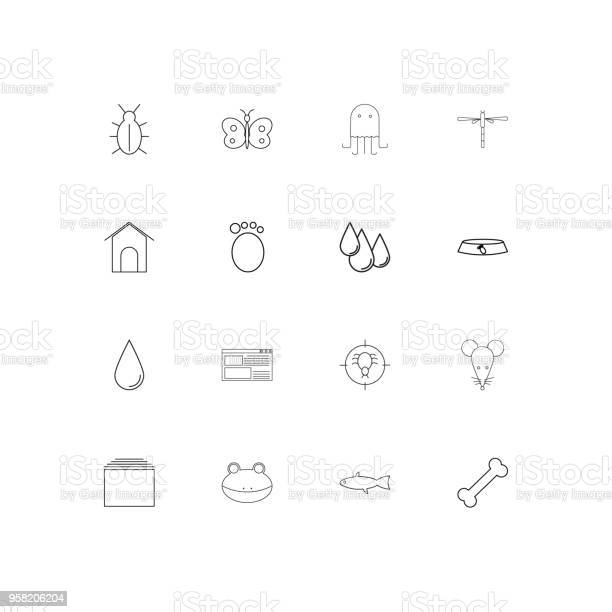 Animals linear thin icons set outlined simple vector icons vector id958206204?b=1&k=6&m=958206204&s=612x612&h=habztbtedrh7vsx xaqyb3khyewqbygdndnkmi  5tm=