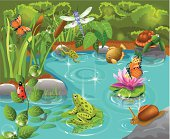 animals living in the pond