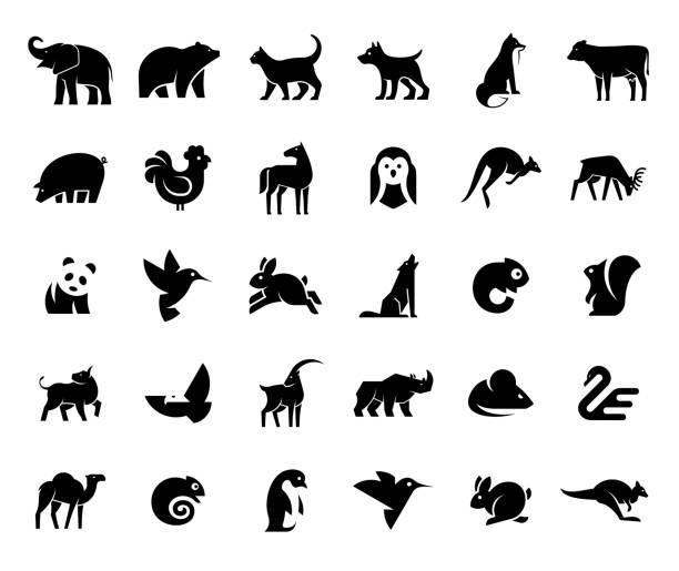 Animals logos collection Animals logos collection. Animal logo set. Isolated on White background animal stock illustrations