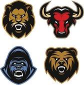 Animals  logos. Lion, bull, gorilla, bear.