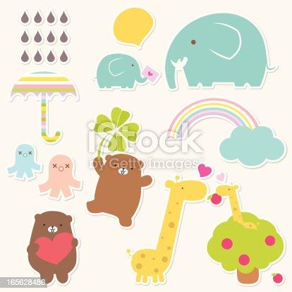 Vector illustration of animals love. Created with adobe illustrator.