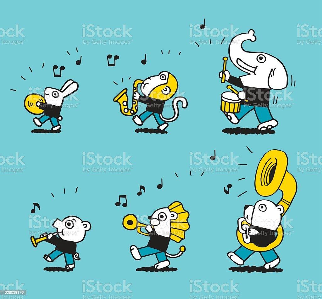 Animals marching brass band vector art illustration