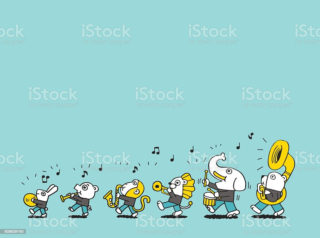 Animals marching brass band vector art illustration
