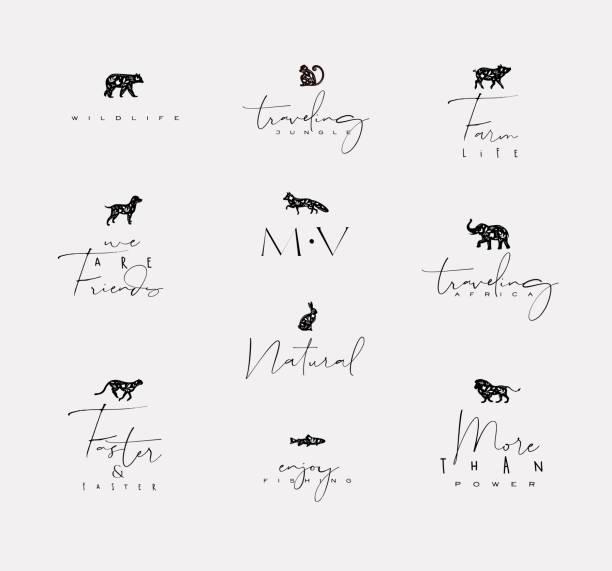 tiere mini floral graphische zeichen - elefantenkunst stock-grafiken, -clipart, -cartoons und -symbole
