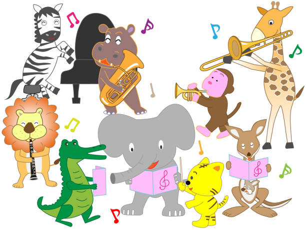 animals music - saks stock illustrations
