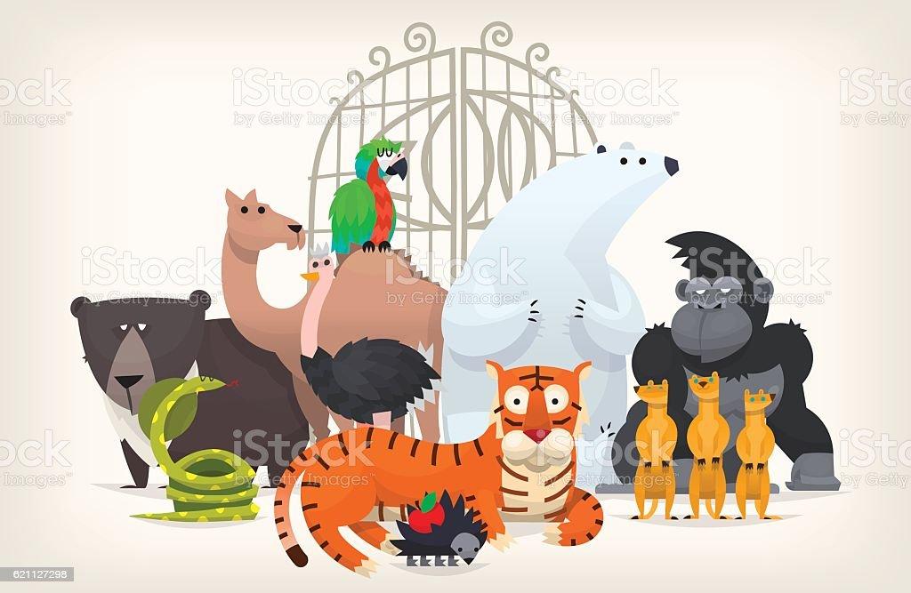 Animals near zoo gates vector art illustration