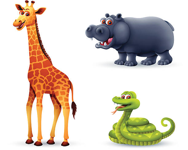 tiere aus afrika - giraffenkostüm stock-grafiken, -clipart, -cartoons und -symbole