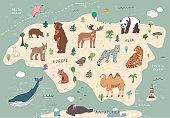 Animals of Eurasia illustrations set