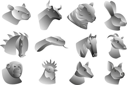 12 animals of oriental horoscope in metallic style