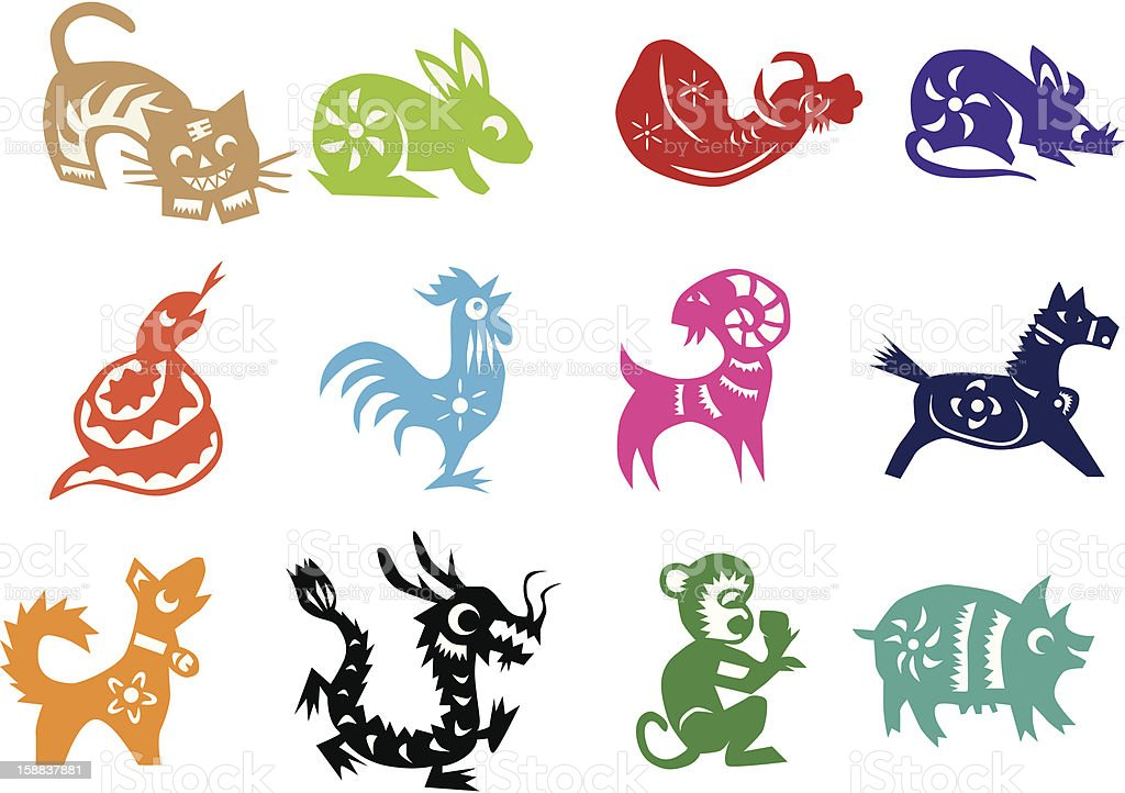 Animals Of The Chinese Calendar Each In A Different Color ...