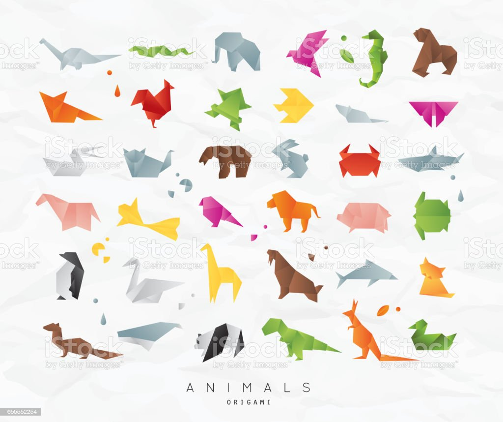 Animals origami set color vector art illustration