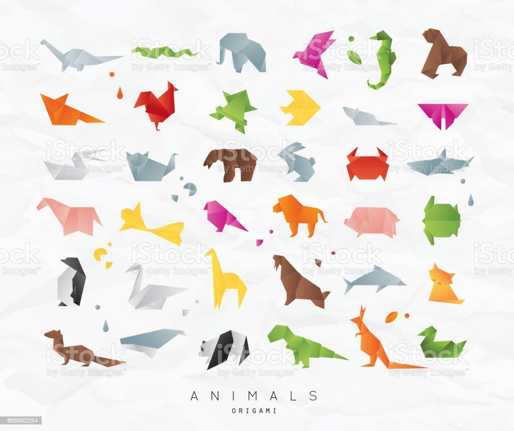 Origami Tiere festlegen Farbe – Vektorgrafik