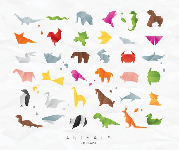 origami tiere festlegen farbe - elefantenkunst stock-grafiken, -clipart, -cartoons und -symbole