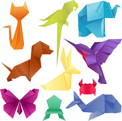 Animals origami set japanese folded modern wildlife hobby symbol creative decoration vector illustration