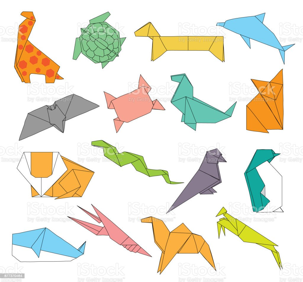Animals Origami Set Of Wild Animals Creative Decoration 2d Stock