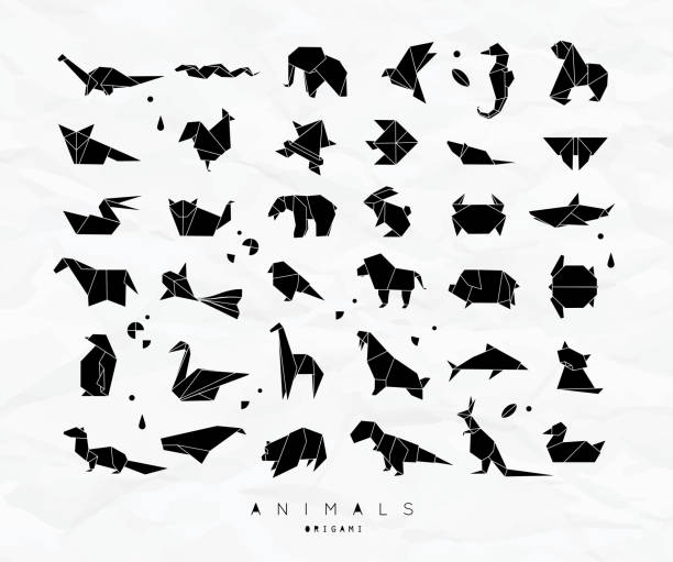 origami set tiere - elefantenkunst stock-grafiken, -clipart, -cartoons und -symbole