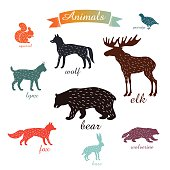 animals. outlines of animals with fur