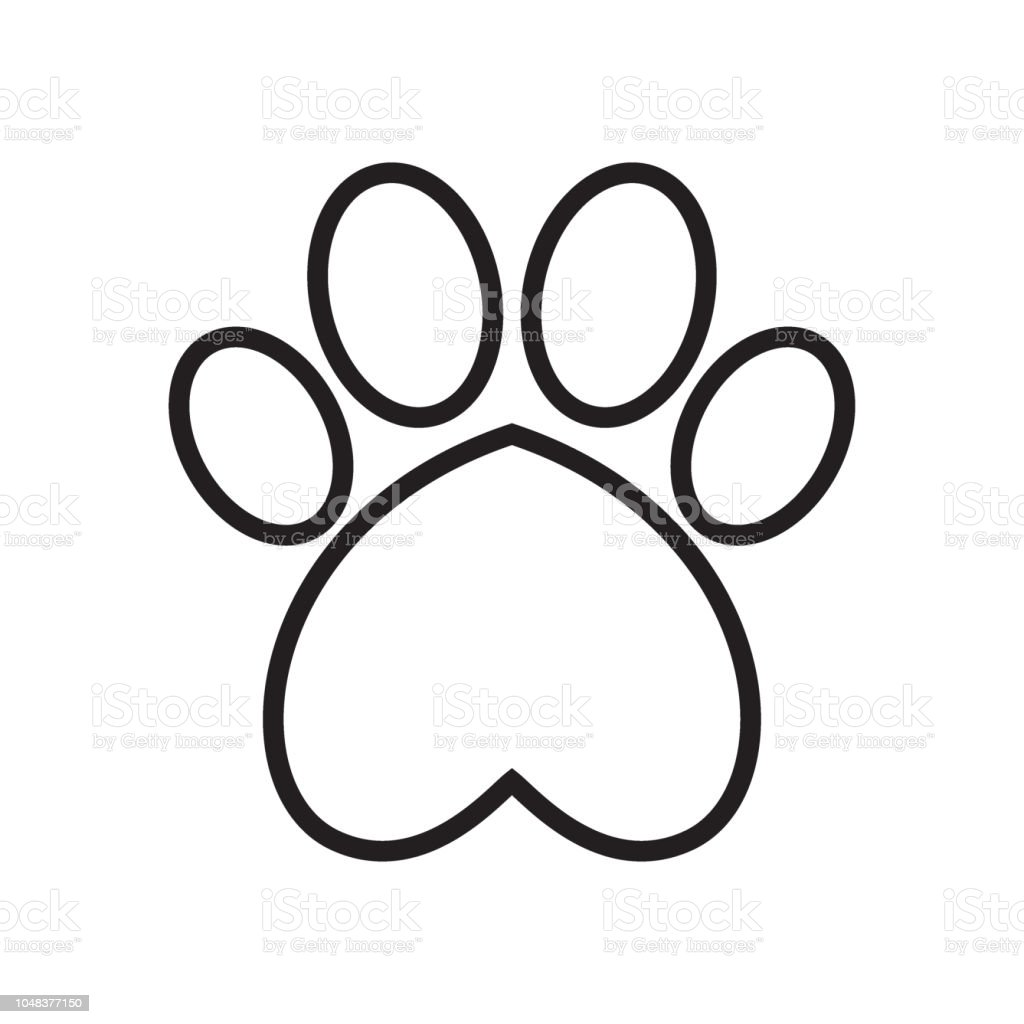 Animals Paw Print With Heart Stock Vector Art More Images Of