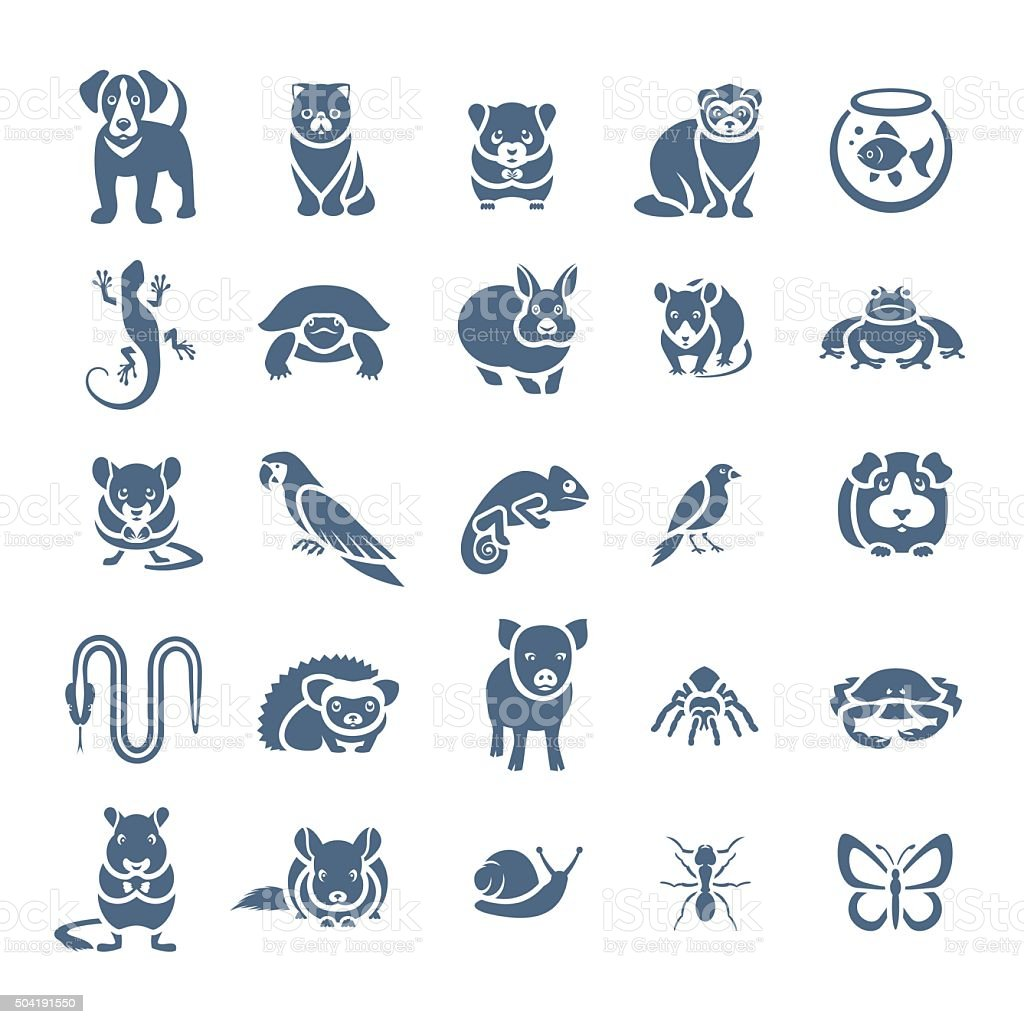 Animals pets vector flat silhouette icons set vector art illustration