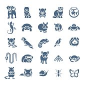 Animals pets vector flat silhouette icons set