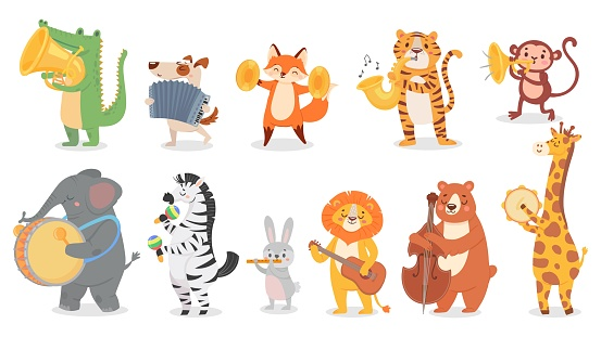 Animals play music. Cute animal playing music instruments, monkey plays trumpet and crocodile with saxophone vector illustration set